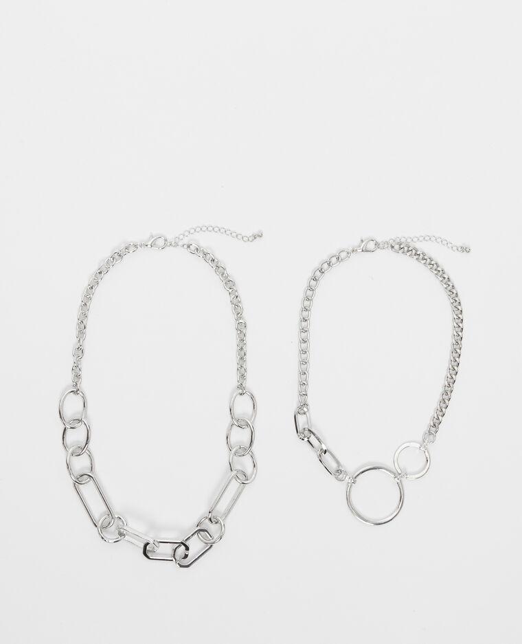 Lot de 2 colliers chaînes gris - Pimkie
