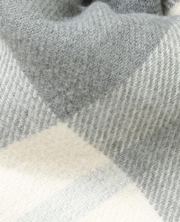 Poncho à carreaux blanc cassé
