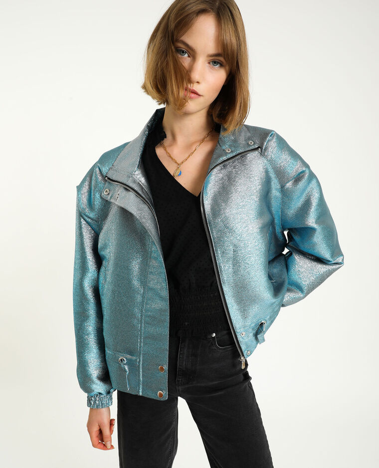 Veste métallisée turquoise