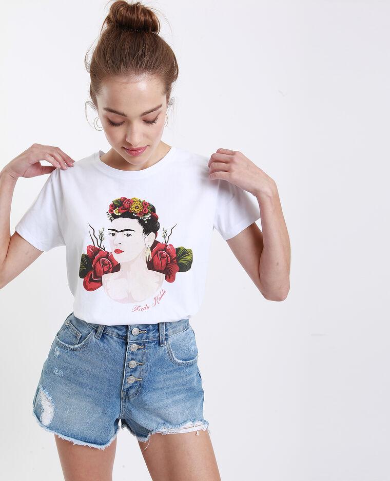 T-shirt Frida Kahlo blanc