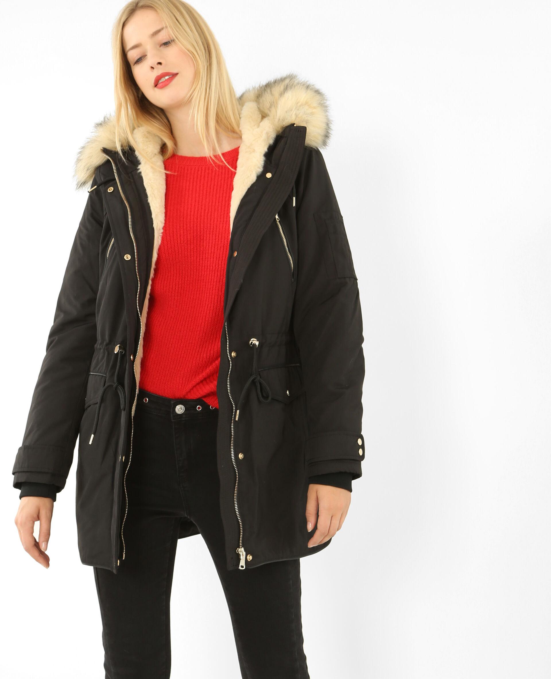 Manteau fourrure bordeaux femme