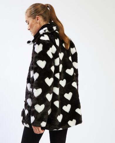 Manteau fausse fourrure imprimé cœurs noir - Pimkie