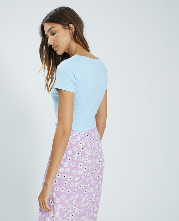 Tee-shirt col V bleu - Pimkie
