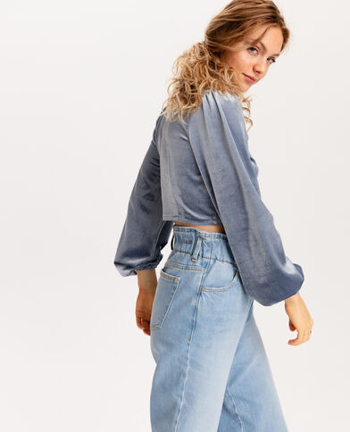 Cropped top velours ras gris