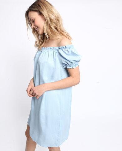 43343797aaeb4 Robe à col bardot bleu clair