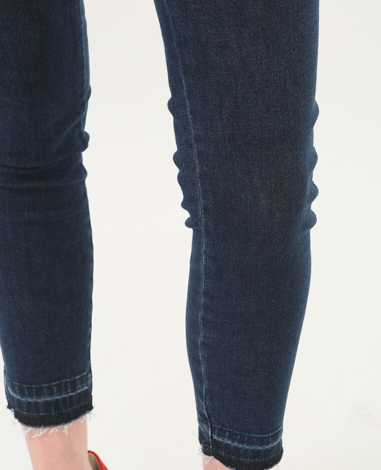 Jean skinny 7/8 taille haute bas décousus bleu brut