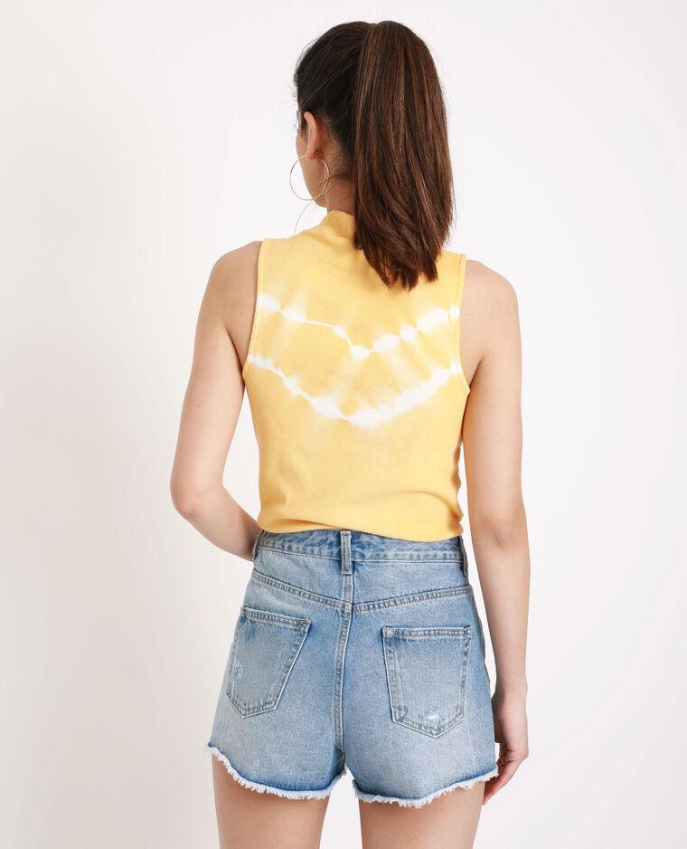 Top à col montant tie & dye jaune