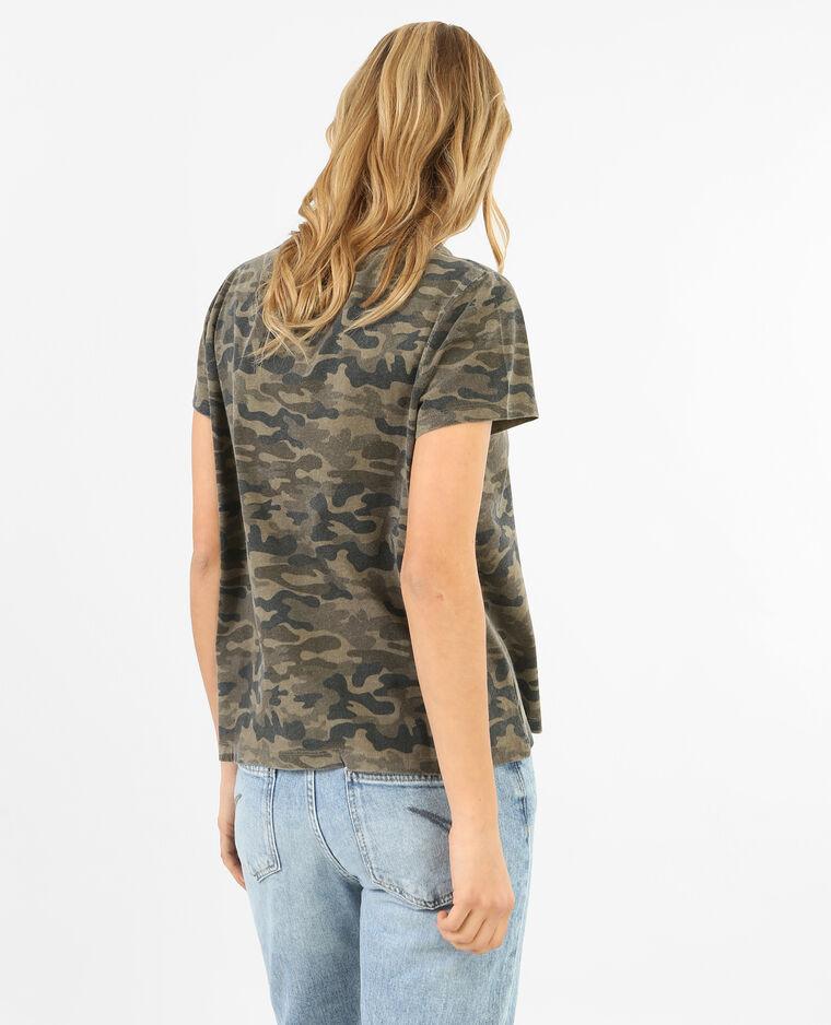T-shirt army délavé broderie rose vert - Pimkie