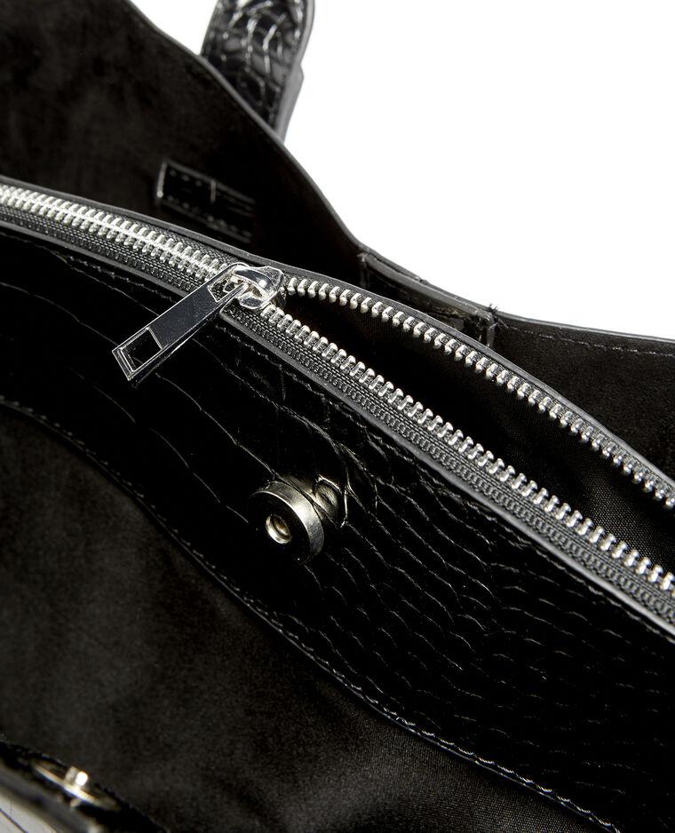 Grand sac cabas croco noir