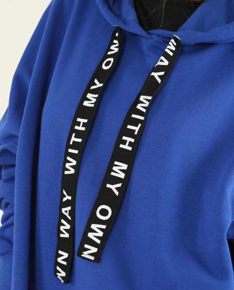 Long sweat à capuche bleu électrique