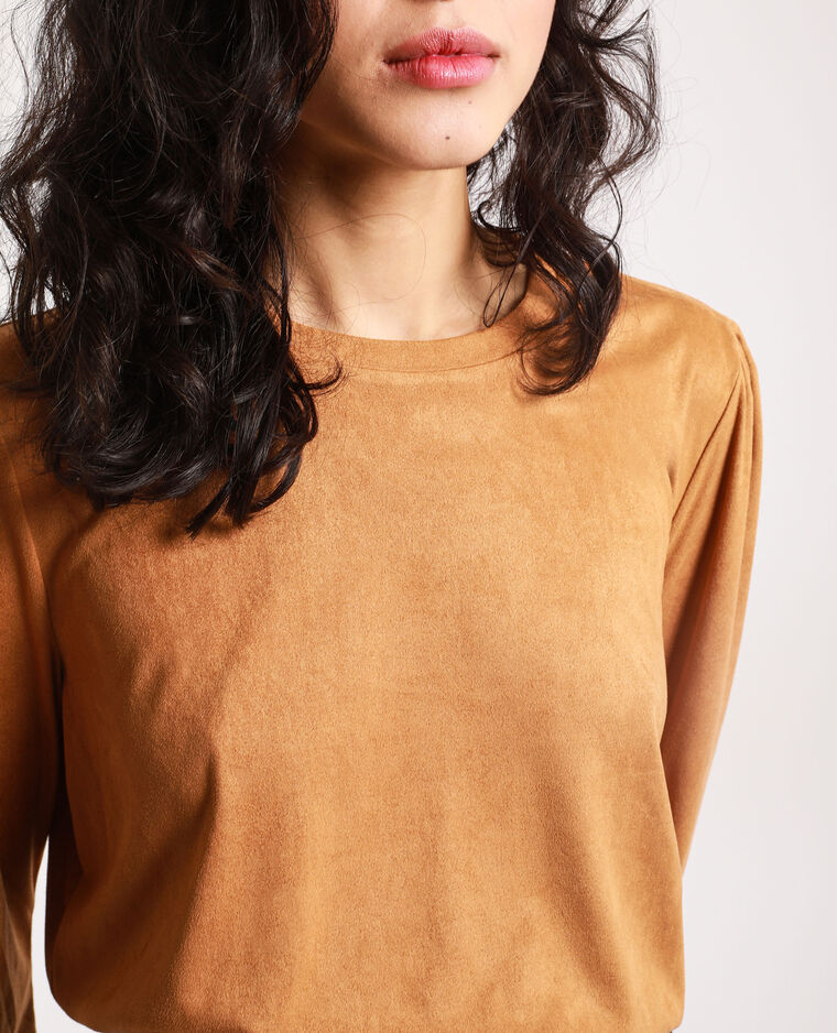 T-shirt en suédine camel