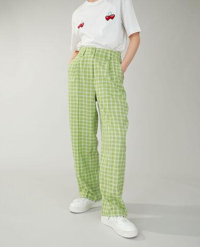 Pantalon wide leg à carreaux vert - Pimkie
