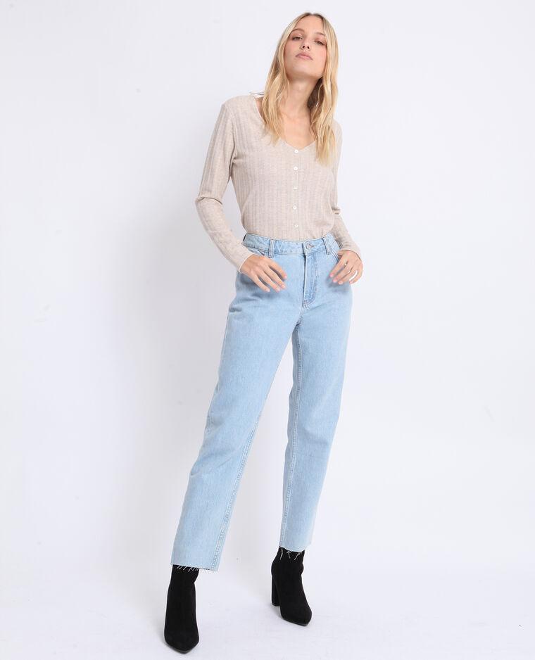 Jean droit mid waist bleu délavé
