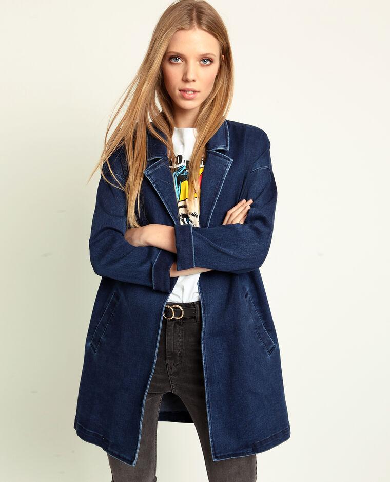 Veste longue en jean bleu denim