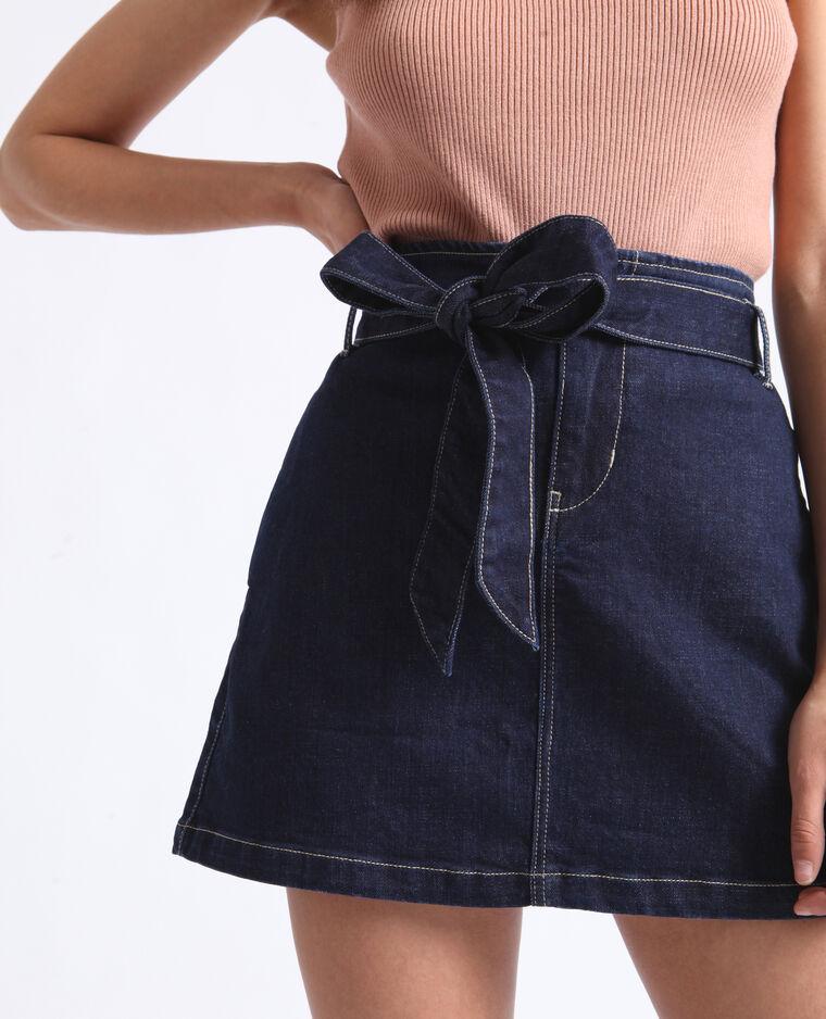 Jupe en jean avec ceinture bleu denim