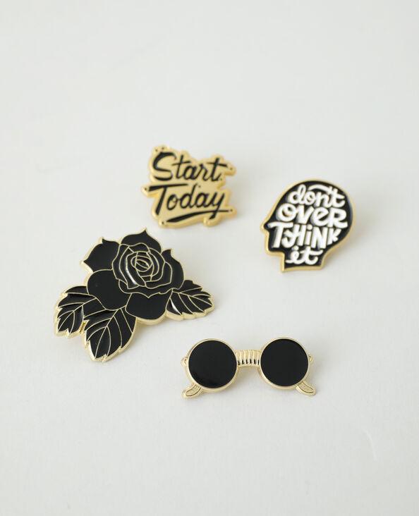Lot de 4 pins gold & black noir - Pimkie
