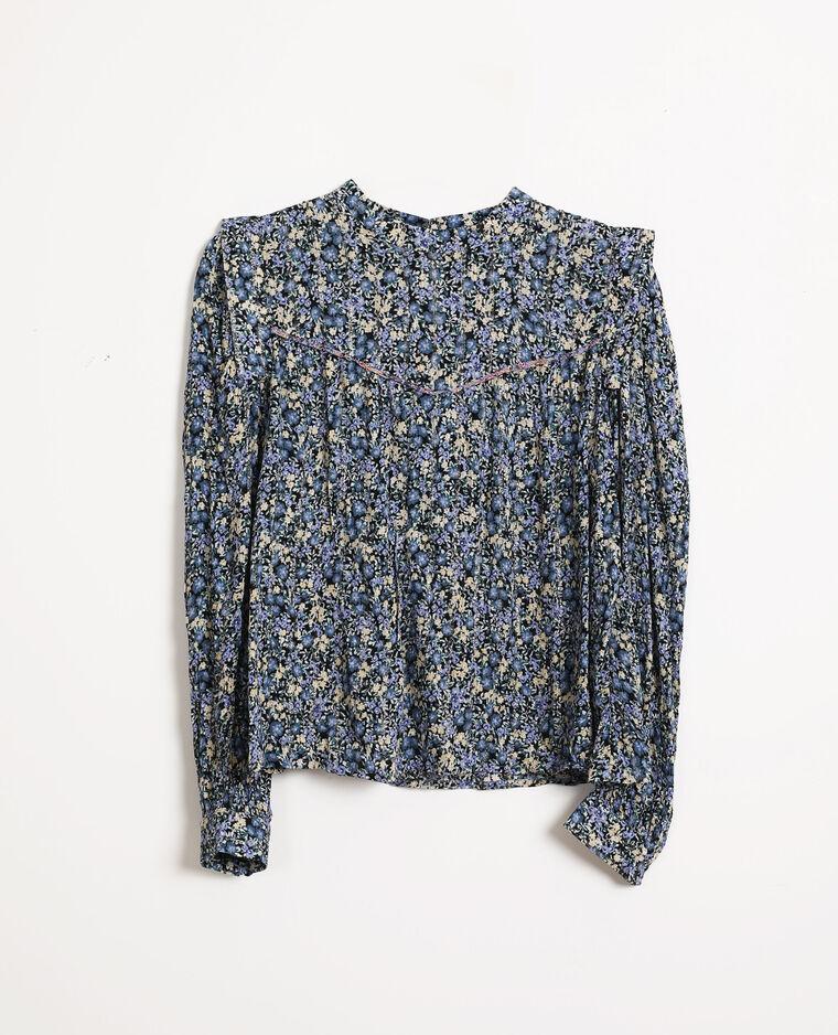 Blouse à fleurs bleu