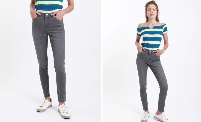 Jean skinny mid waist gris