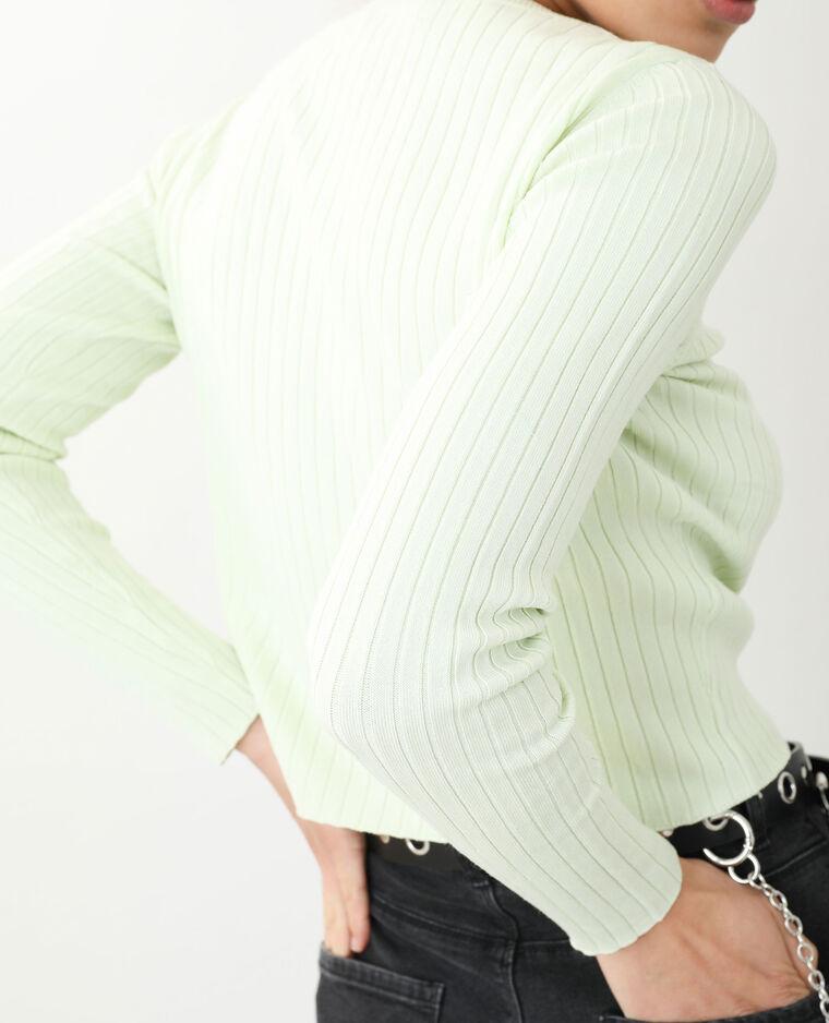 Pull court côtes plates vert - Pimkie