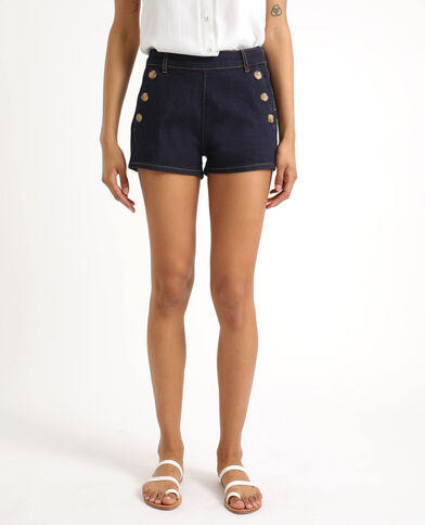Short en jean boutonné bleu foncé