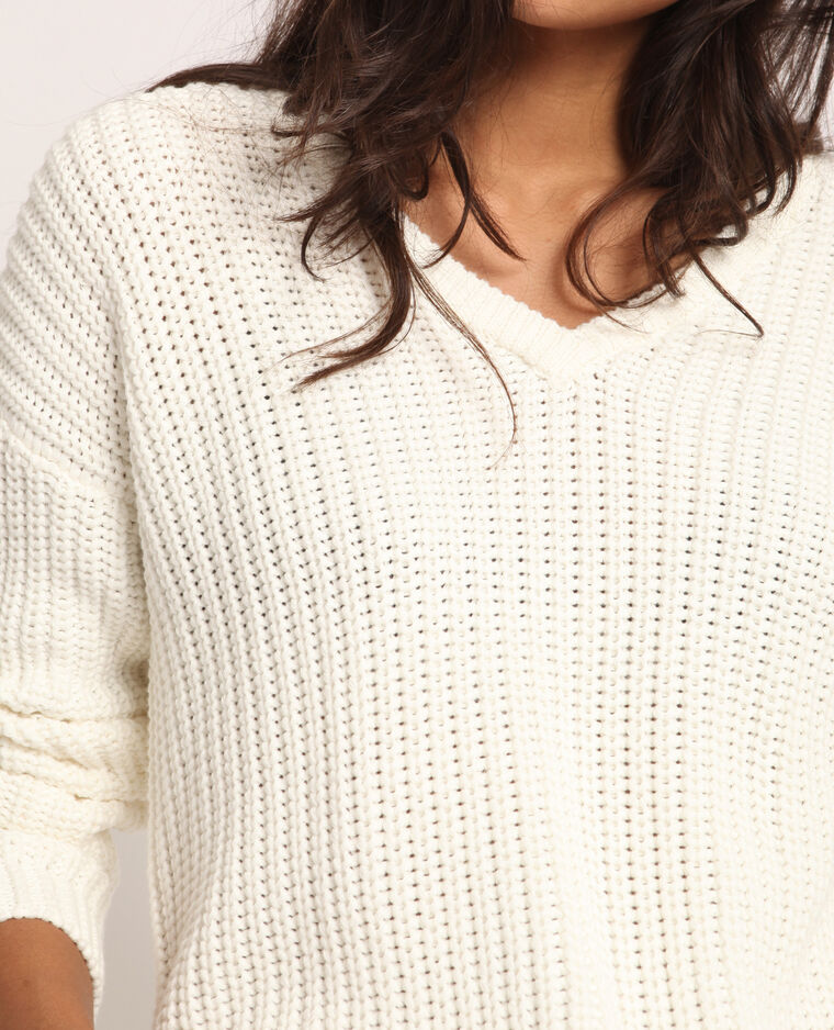 Pull à grosse maille blanc