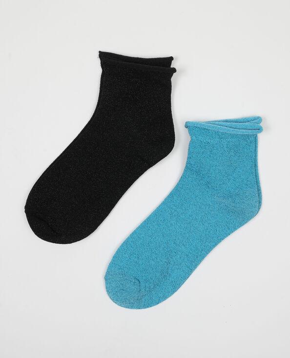 Lot de 2 paires de chaussettes lurex bleu - Pimkie