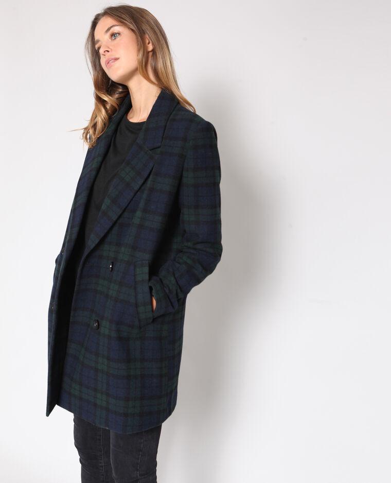 Manteau à carreaux bleu