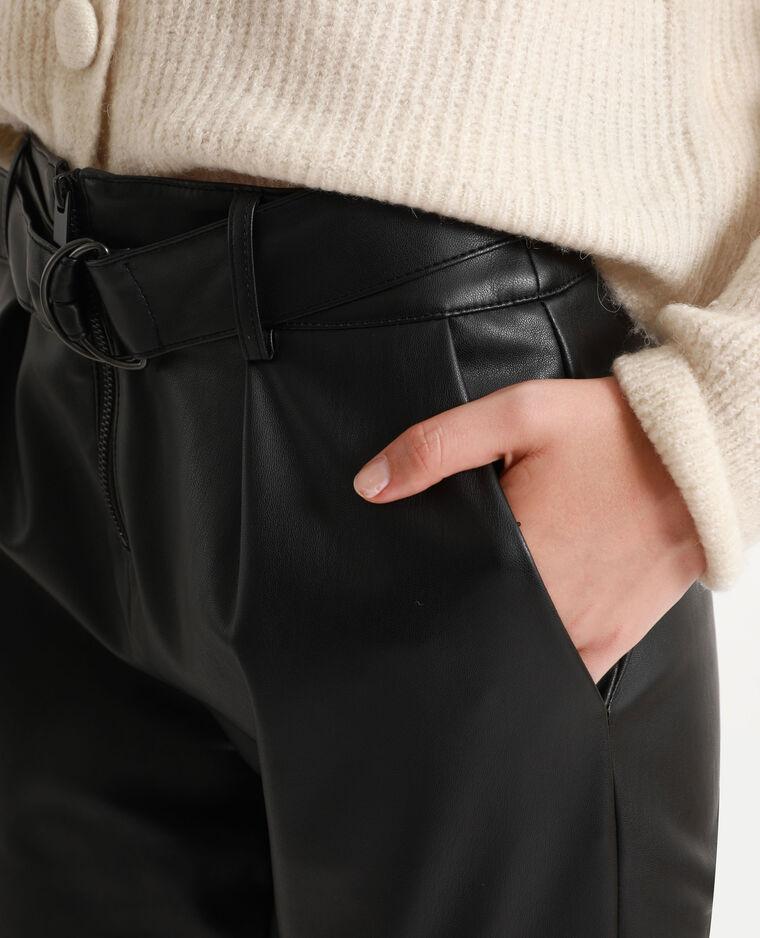 Pantalon en faux cuir noir