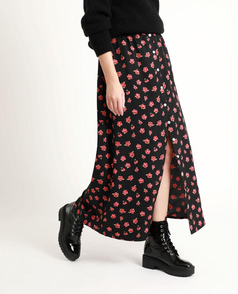 Jupe longue à fleurs noir