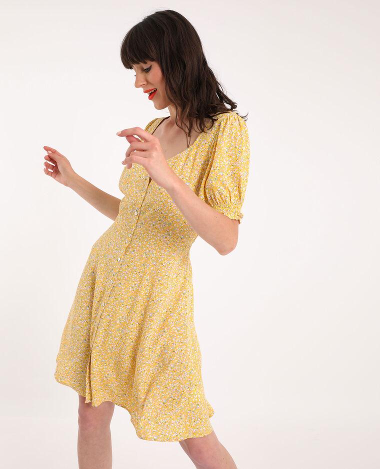 Robe fluide boutonnée jaune