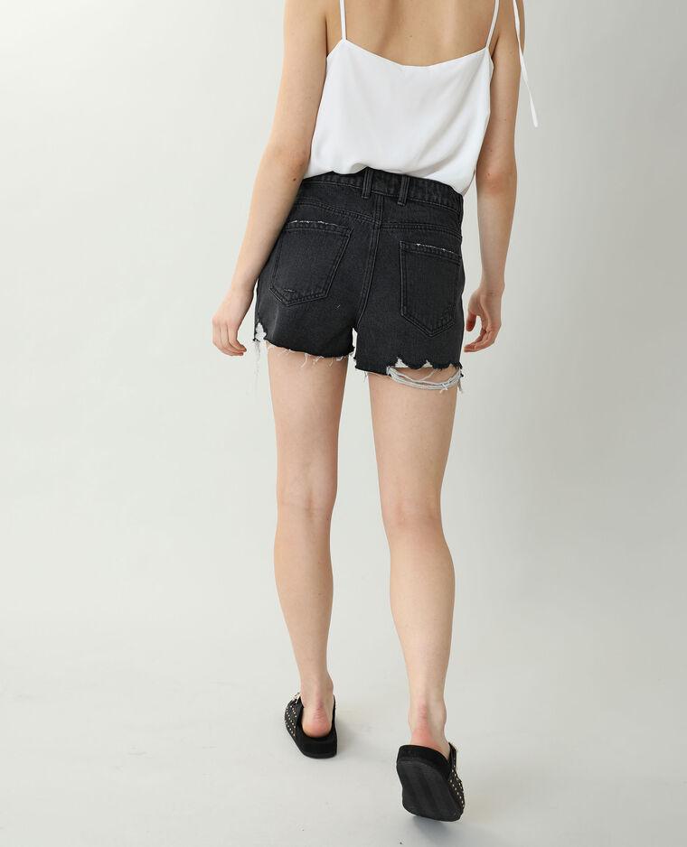 Short en jean high waist destroy noir - Pimkie