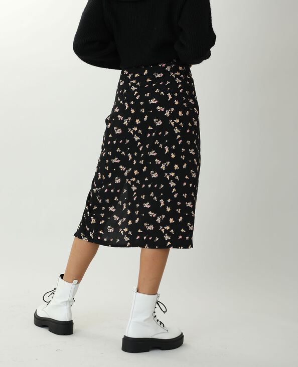 Jupe longue fleurie noir