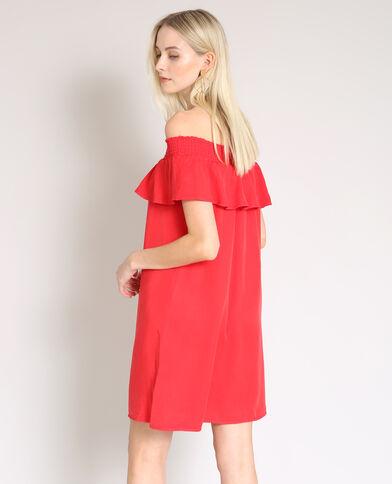 Robe à col bardot rouge