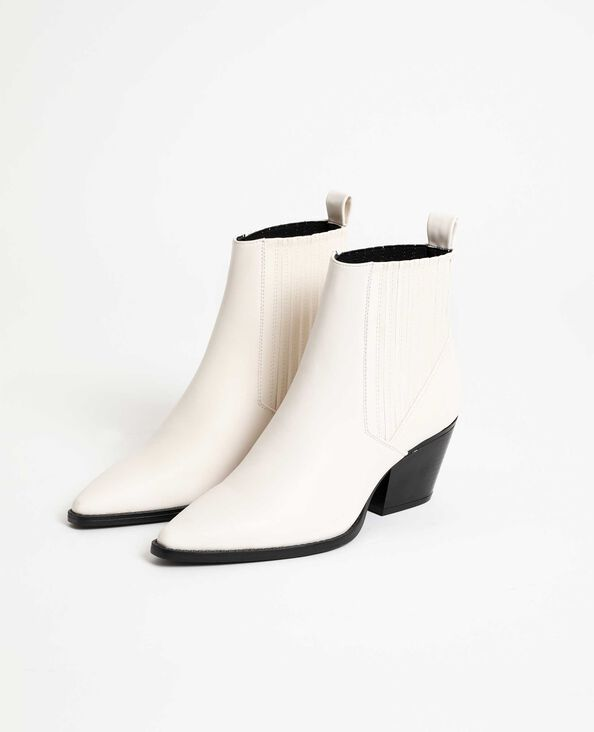 Boots style western blanc
