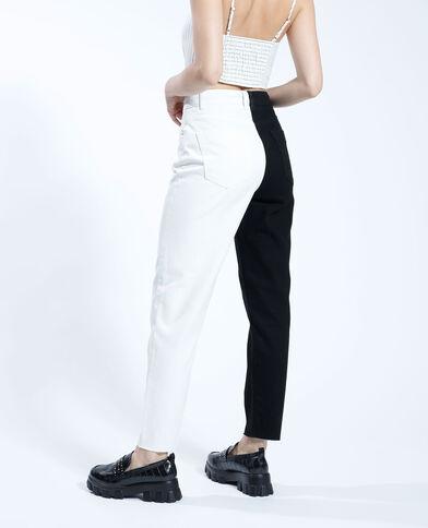 Jean mom high waist bicolore noir - Pimkie