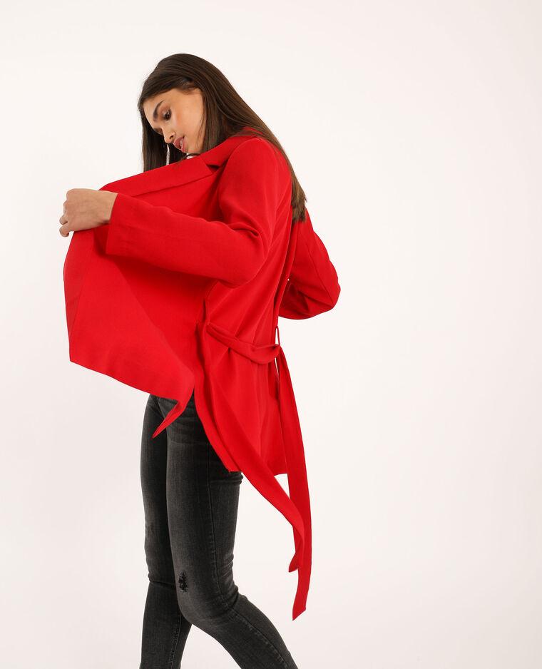 Blazer fluide à ceinture rouge
