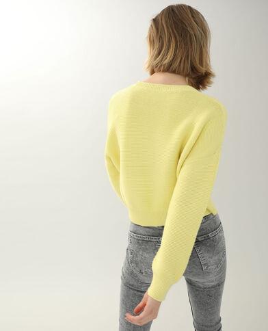 Pull maille reliefée jaune pâle - Pimkie