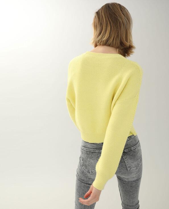 Pull maille reliefée jaune pâle