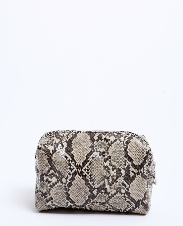 Trousse de maquillage python beige