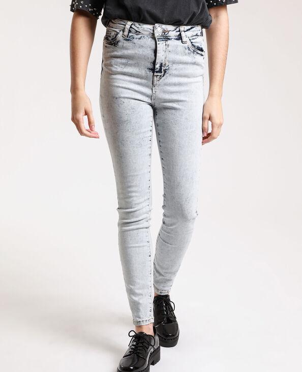 Jean skinny high waist délavé bleu clair