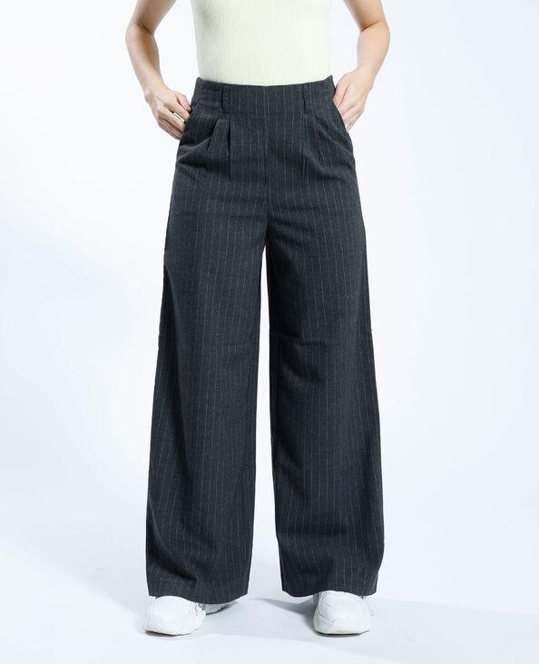 Pantalon large rayé gris chiné - Pimkie