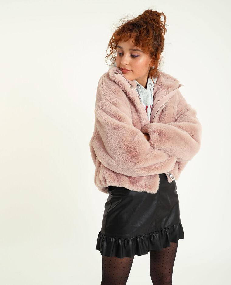 Blouson en fausse fourrure rose nude
