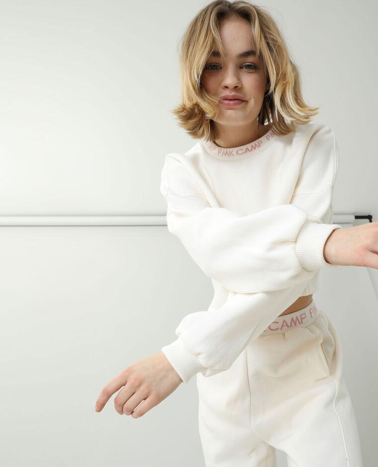 Sweat court molleton blanc cassé - Pimkie