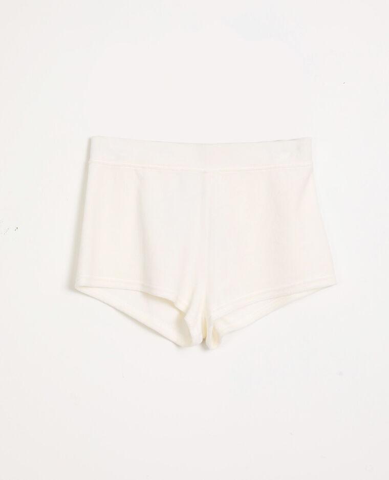 Short velours loungewear blanc cassé