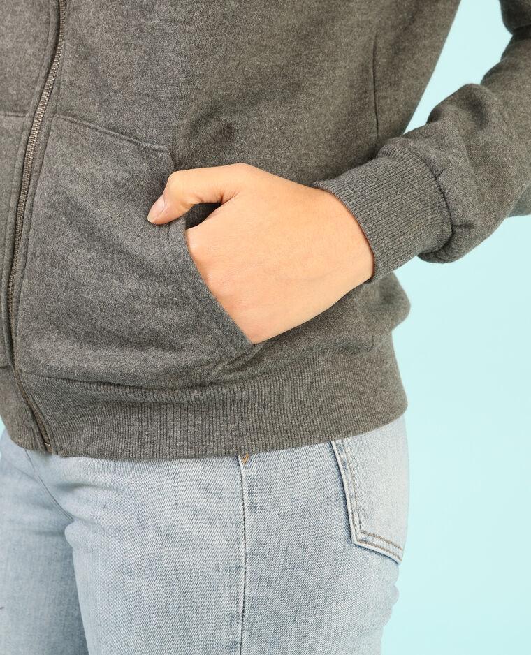 Sweat zippé capuche gris