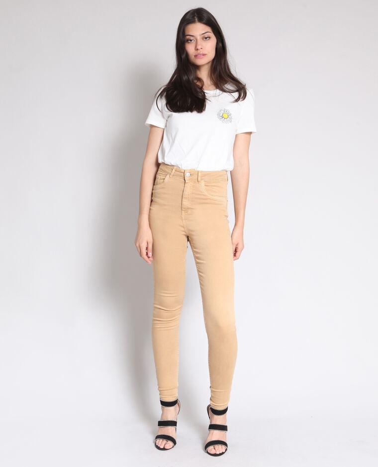 Pantalon skinny taille haute beige sable