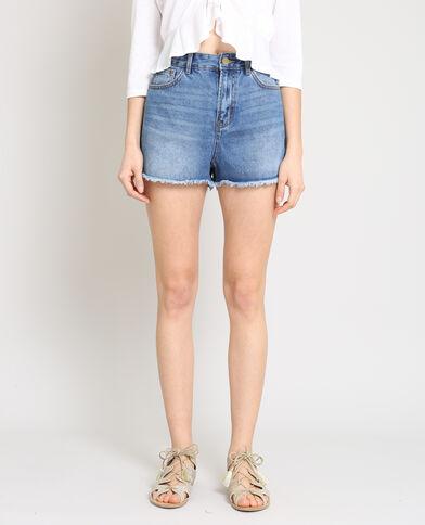 Short en jean taille haute bleu