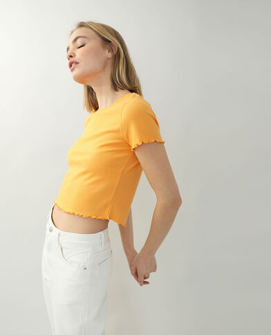 T-shirtcôtelé et volanté orange