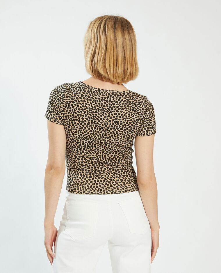 T-shirt boutonné léopard beige - Pimkie