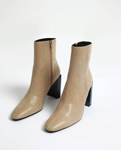 Bottines à écailles beige